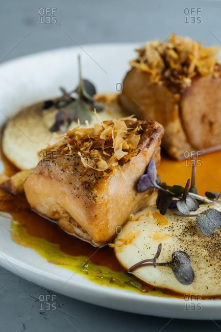 Gourmet meat dish close up