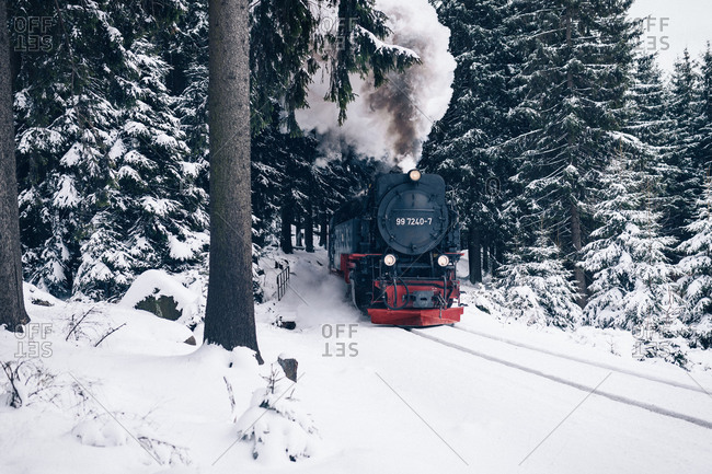 Harz Narrow Gauge Railways in winter, Schierke, Germany