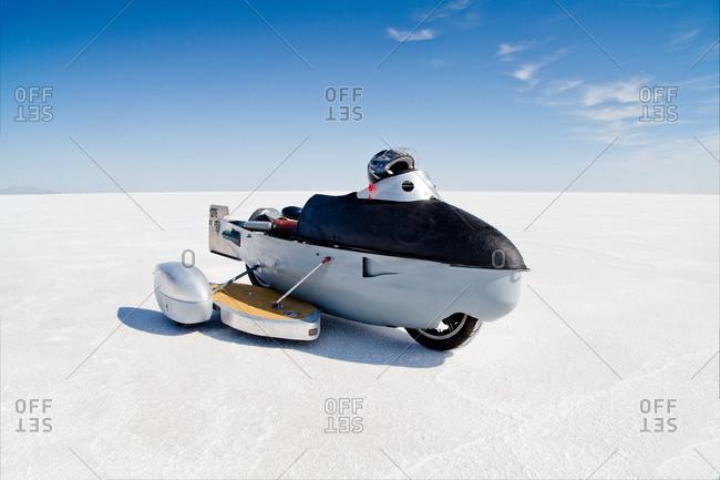 Self-built racing motorbike, Bonneville Speed Week, Great Salt Lake, Utah