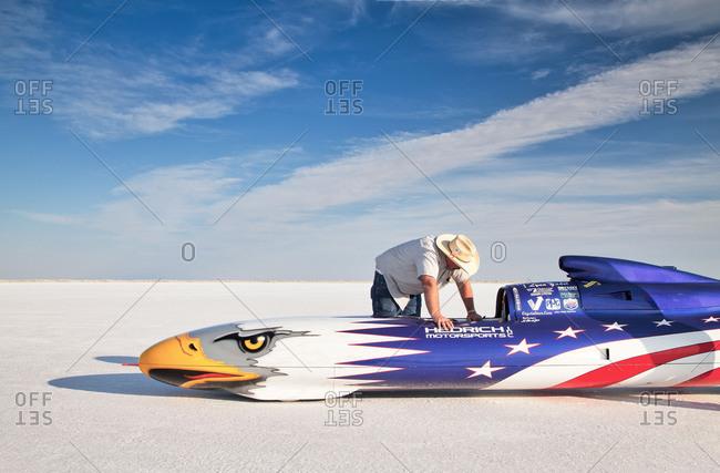 Self-built racing car, Bonneville Speed Week, Great Salt Lake, Utah, USA