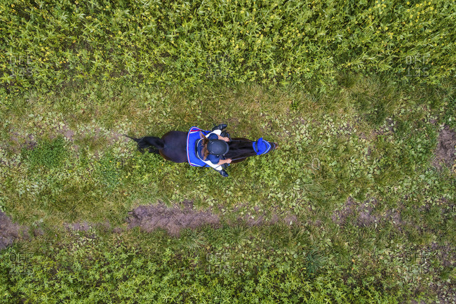 Young woman rides on a country lane, aerial shots