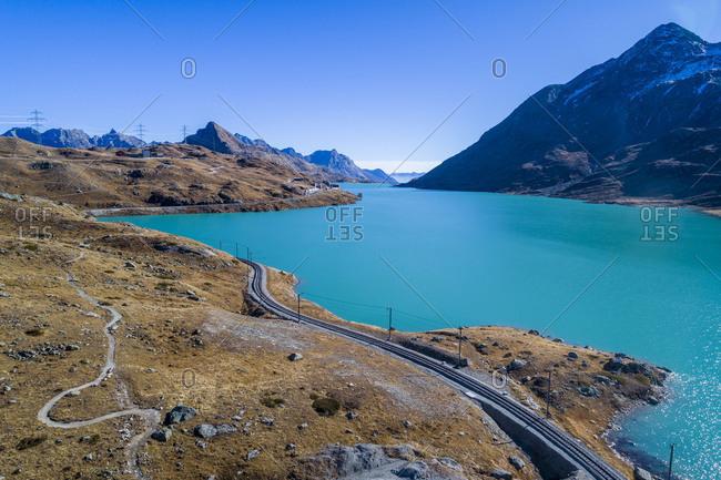 Railway line at the Bernina Pass, Lago Bianco, Engadine, Graub�nden, Switzerland