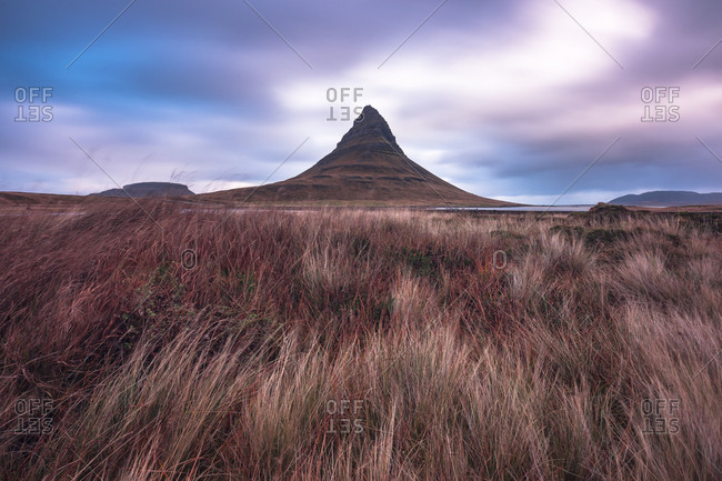 Europe, Northern Europe, Iceland, Snaefellsnes, Grundarfj�rdur, view to the mountain Kirkjufell