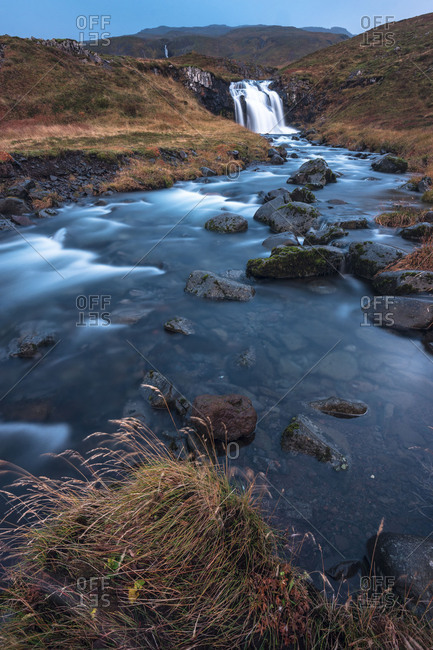 Europe, Northern Europe, Iceland, Snaefellsnes, Grundarfj�rdur, Idyllic waterfall on the Snaefellsnes peninsula