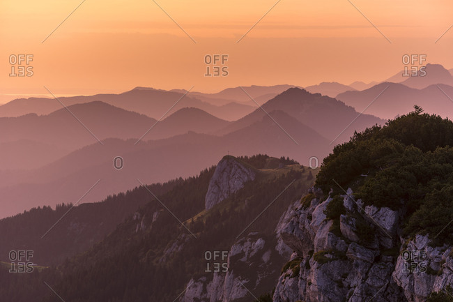 Germany, Bavaria, Bavarian foothills, Lenggries, colorful sunrise on the Benediktenwand (mountain)