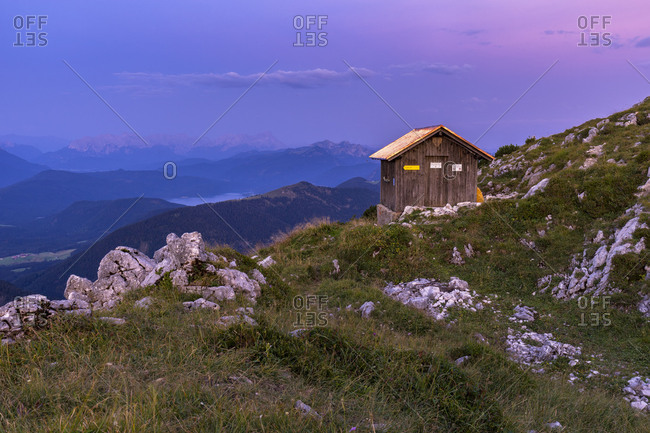 Germany, Bavaria, Bavarian Alpine Foreland, Lenggries, sunrise at the bivouac hut on the Benediktenwand (mountain)