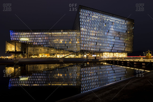 Europe, Northern Europe, Iceland, Reykjavik, Harpa Concert Hall at night