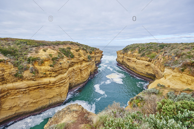 Blowhole at Loch Ard Gorge, Great Ocean Road, Port Campbell National Park, Victoria, Australia, Oceania