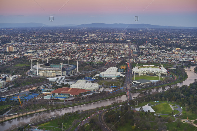 View from the Eureka Tower over the Olympia center, Melbourne, Victoria, Australia, Oceania