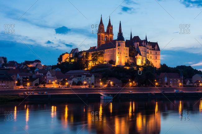 Saxony, Meissen, Old Town, Meissen Cathedral, Albrechtsburg, blue hour