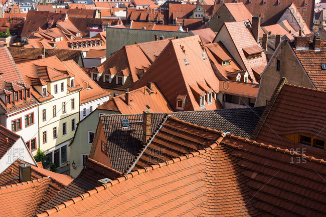 Elbe Cycle tour, Saxony, Meissen, view from Cathedral Square, roof landscape