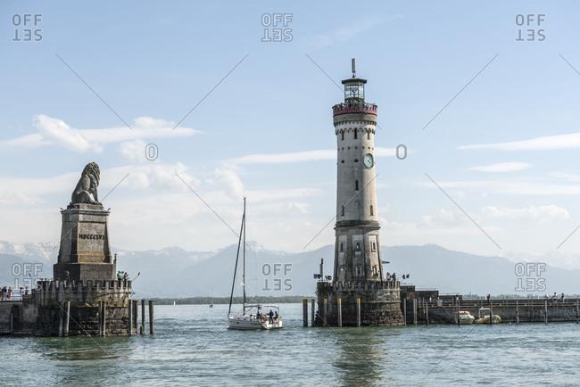 Lindau, Bavaria, Germany, harbor on the island of Lindau with the new lighthouse