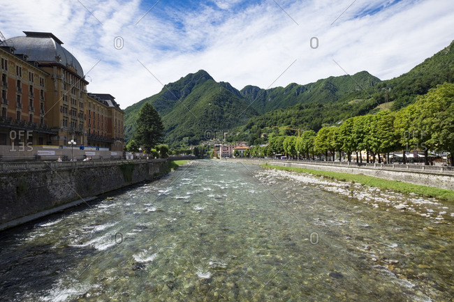 San Pellegrino with its architecture art noveau is one of the most important tourist destinations in the Brembana valley north of the province of Bergamo in Italy