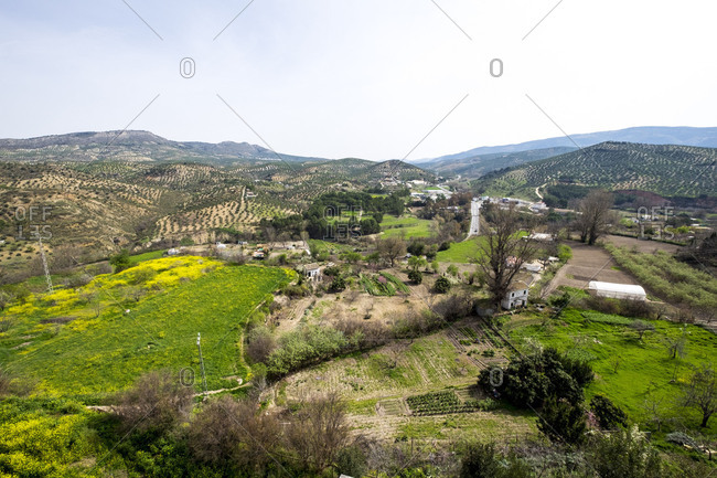 View to the orchards and olive groves from the balcony of the Adarve in the neighborhood of the villa in the city of Priego de Cordoba in Andalucia in southern Spain