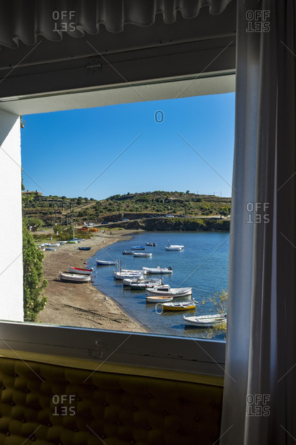 Landscape and boats in the town of Portlligat, where the surrealist painter Salvador Dali lived.