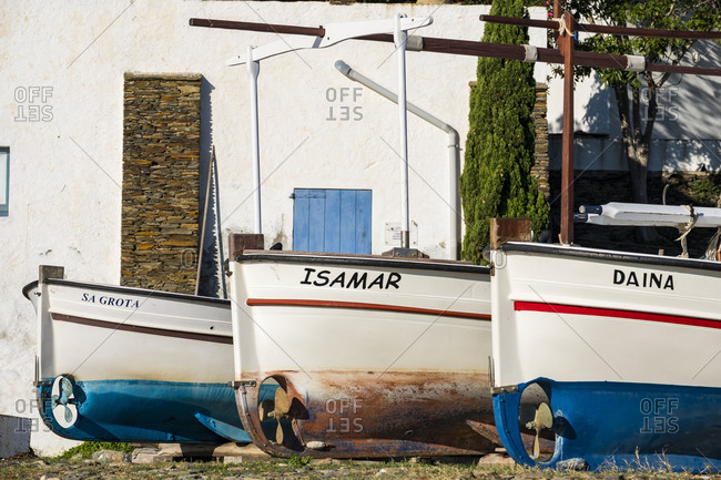 Fishing boats in the town of Portlligat, where the surrealist painter Salvador Dali lived.