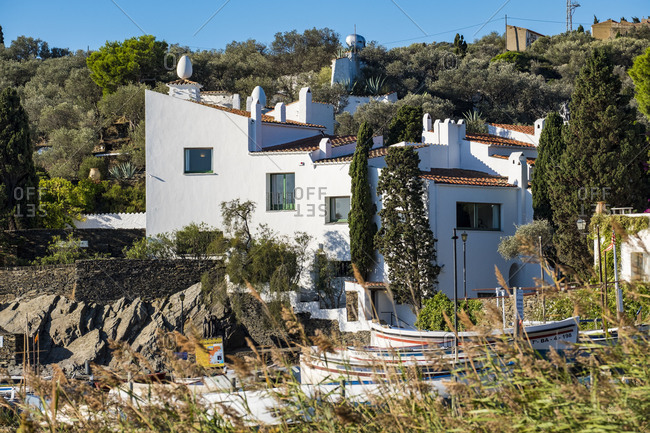 Exterior view of the house museum of the surrealist painter Salvador Dali in Portlligat in the natural reserve of Cap de Creus north of the Costa Brava in the province of Gerona in Catalonia Spain