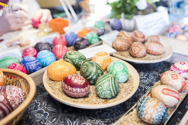 Preparing traditional Sorbian Easter eggs in Bautzen, Germany.  Wax technique and salt acid with the scratch- and etching technique.