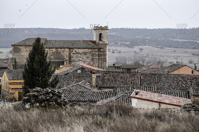 Overview of the Quintanilla de Onesimo village in the region of Ribera del Duero appellation wines in the province of Valladolid in Spain Europe