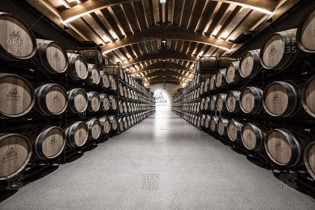 Interior of the Balbas winery, one of the pioneer wines in the Ribera del Duero appellation of origin wine region in Burgos Spain Europe