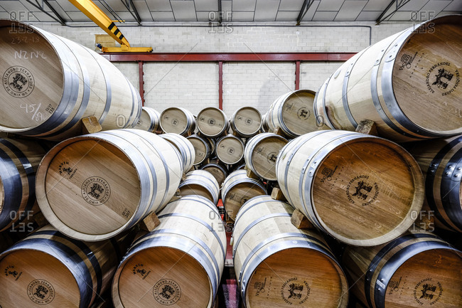 Barrels in the cellars of the wine brand Alejandro Fernandez of denomination of origin Ribera del Duero in Valladolid Spain Europe