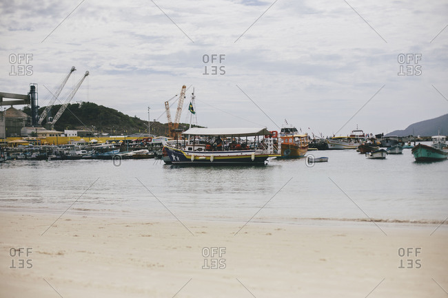 boats in the shore of Brazilian beach