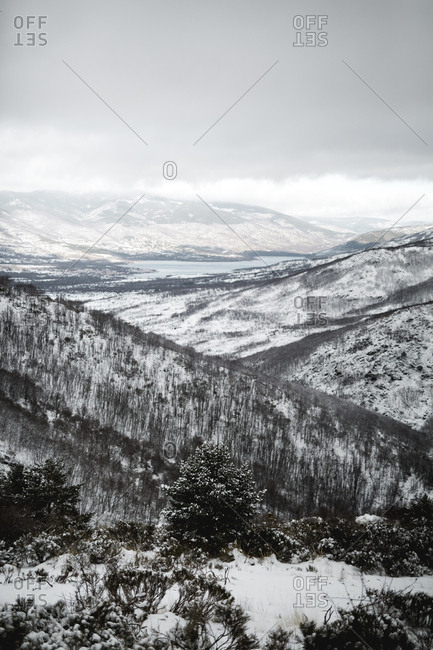 Majestic view of amazing hills on cloudy winter day in majestic nature