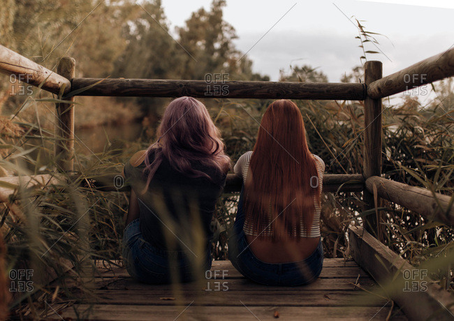 Back view of two women with long hair sitting on wooden pier in lush vegetation and dreaming