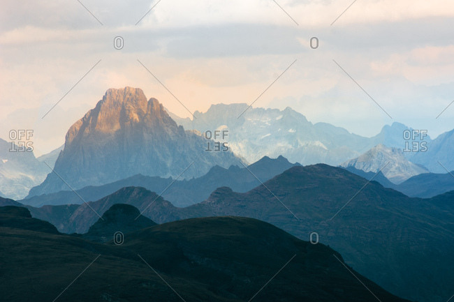 Magnificent view of spectacular mountains on cloudy day in wonderful nature