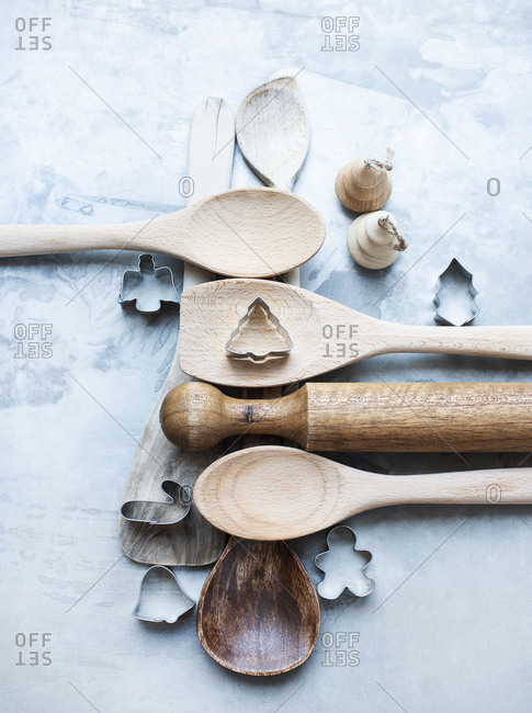 Wooden spoons with Christmas cookie cutters