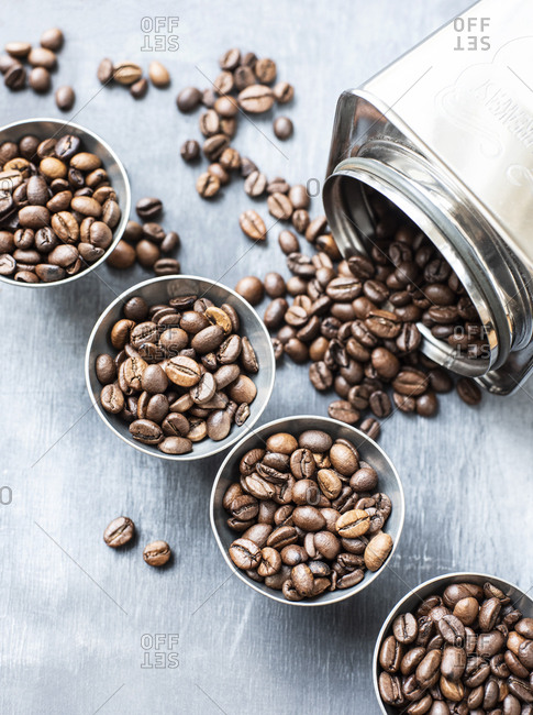 Coffee beans divided into small portions