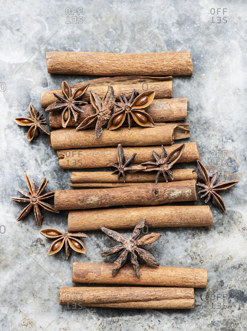 Close up of cinnamon sticks with star anise
