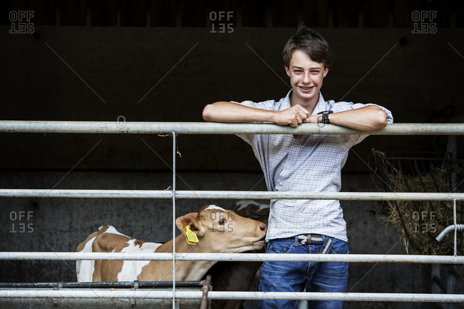Young man standing in a barn with a Guernsey calf, smiling at camera.