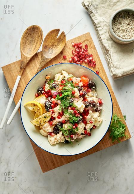 Feta and pomegranate salad