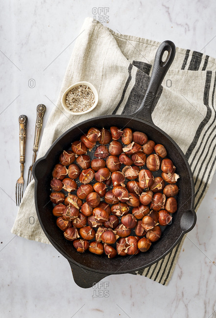 Homemade roasted chestnuts