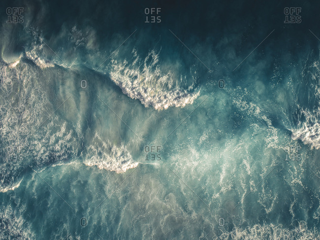 Abstract aerial view of waves in the ocean
