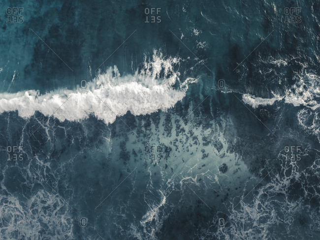 Aerial view of waves in the ocean