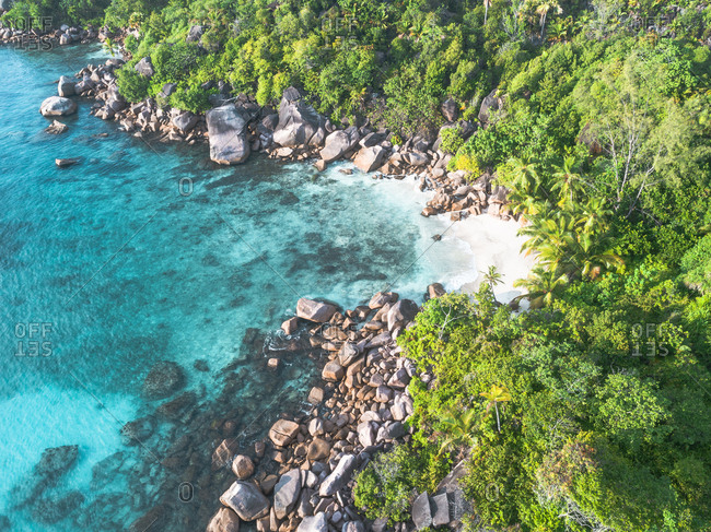 Elevated view of rocky coastline on Seychelles, Africa