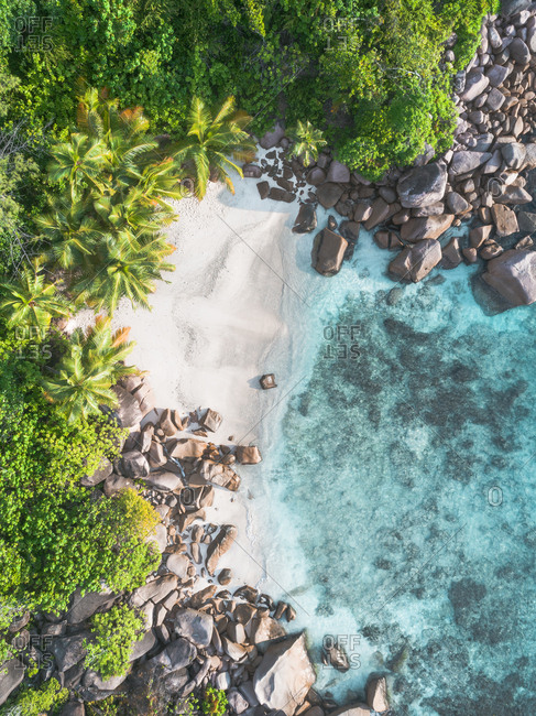Rocky coastline on Seychelles, Africa from above