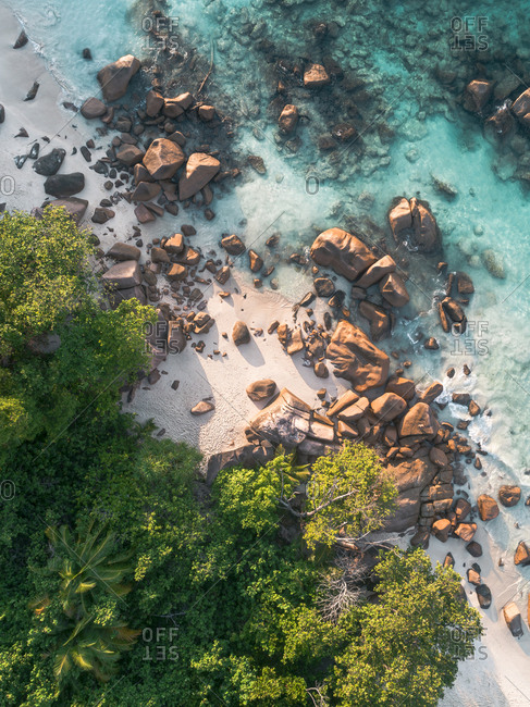 Aerial view of rocky beach, Seychelles, Africa