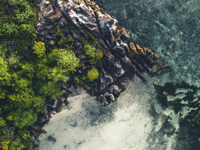 Aerial view of rock formations and foliage, Seychelles, Africa