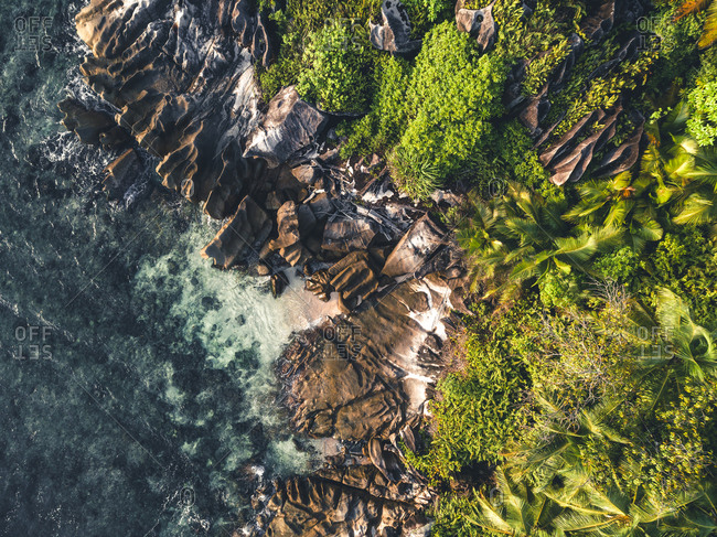 Bird's eye view of rock formations and foliage, Seychelles, Africa