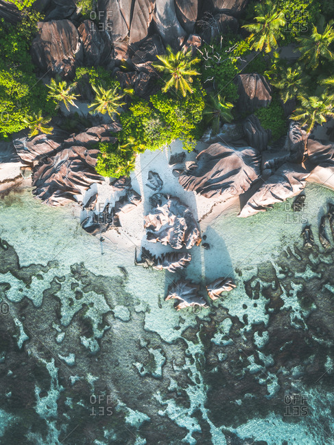 Aerial view of rocky beach on the coast of Seychelles, Africa