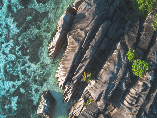Rocks on the coastline of Seychelles, Africa from above
