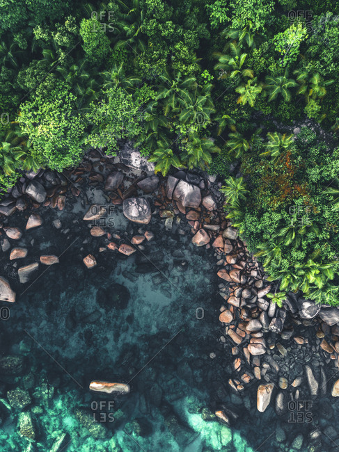 Rocky coastline of Seychelles, Africa from above