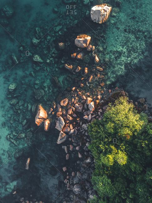 Rocks on the coastline of Seychelles, Africa