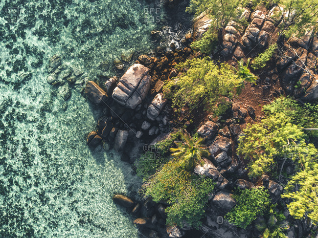 Aerial view of ocean and rocky coastline of Seychelles, Africa