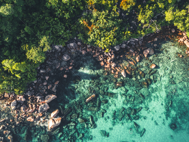 Aerial view of rocky coastline on Seychelles, Africa