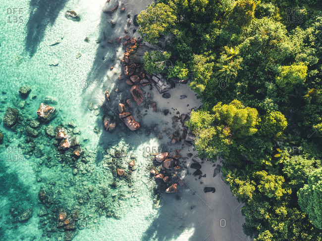 Aerial view of beach and rocky coastline on Seychelles, Africa