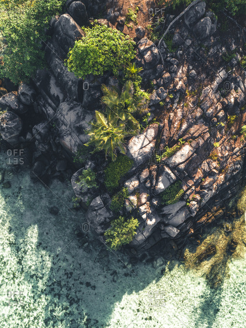 Aerial view of rock formations, Seychelles, Africa